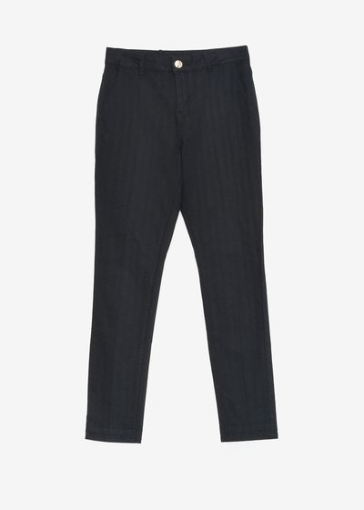 Slim-leg cotton blend trousers