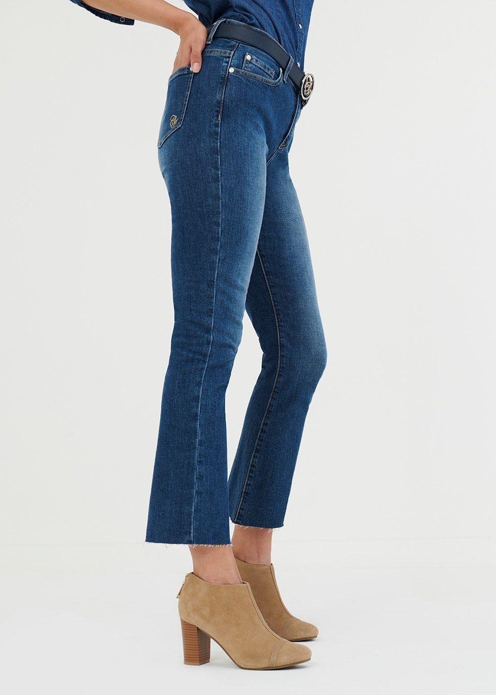 Flared denims with fringed hem - Medium Denim - Woman