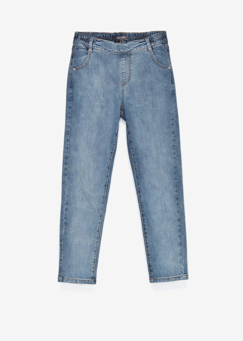 jeggings with elastic band on the back - Medium Denim - Woman