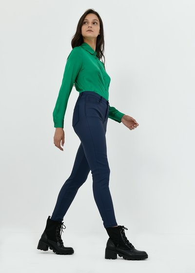 Skinny trousers with faux-leather effect