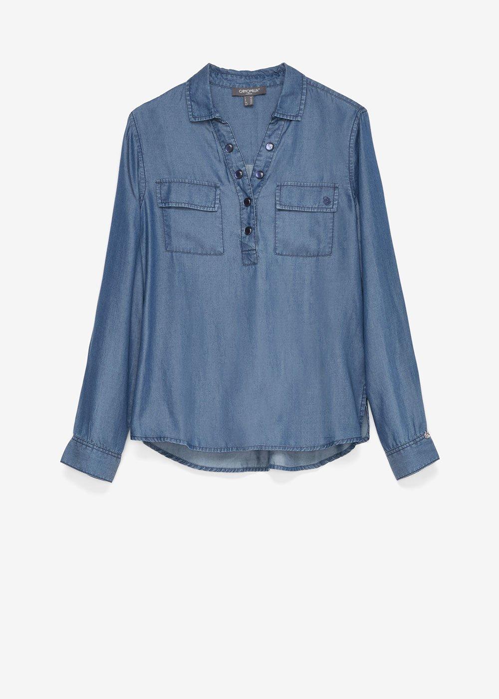 Shirt with stone buttons - Dark Denim - Woman