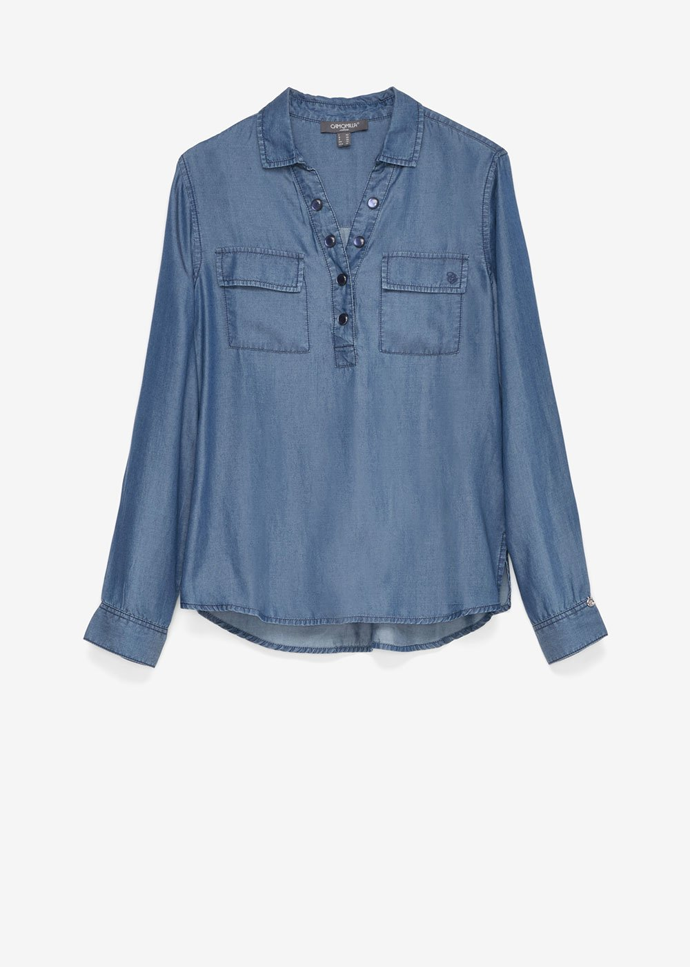 Shirt with stone buttons - Dark Denim - Woman