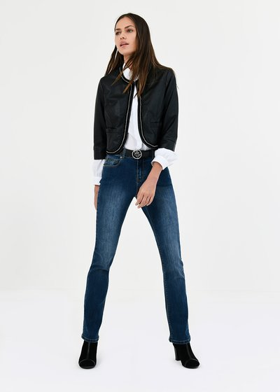 Straight-leg denims with gold details