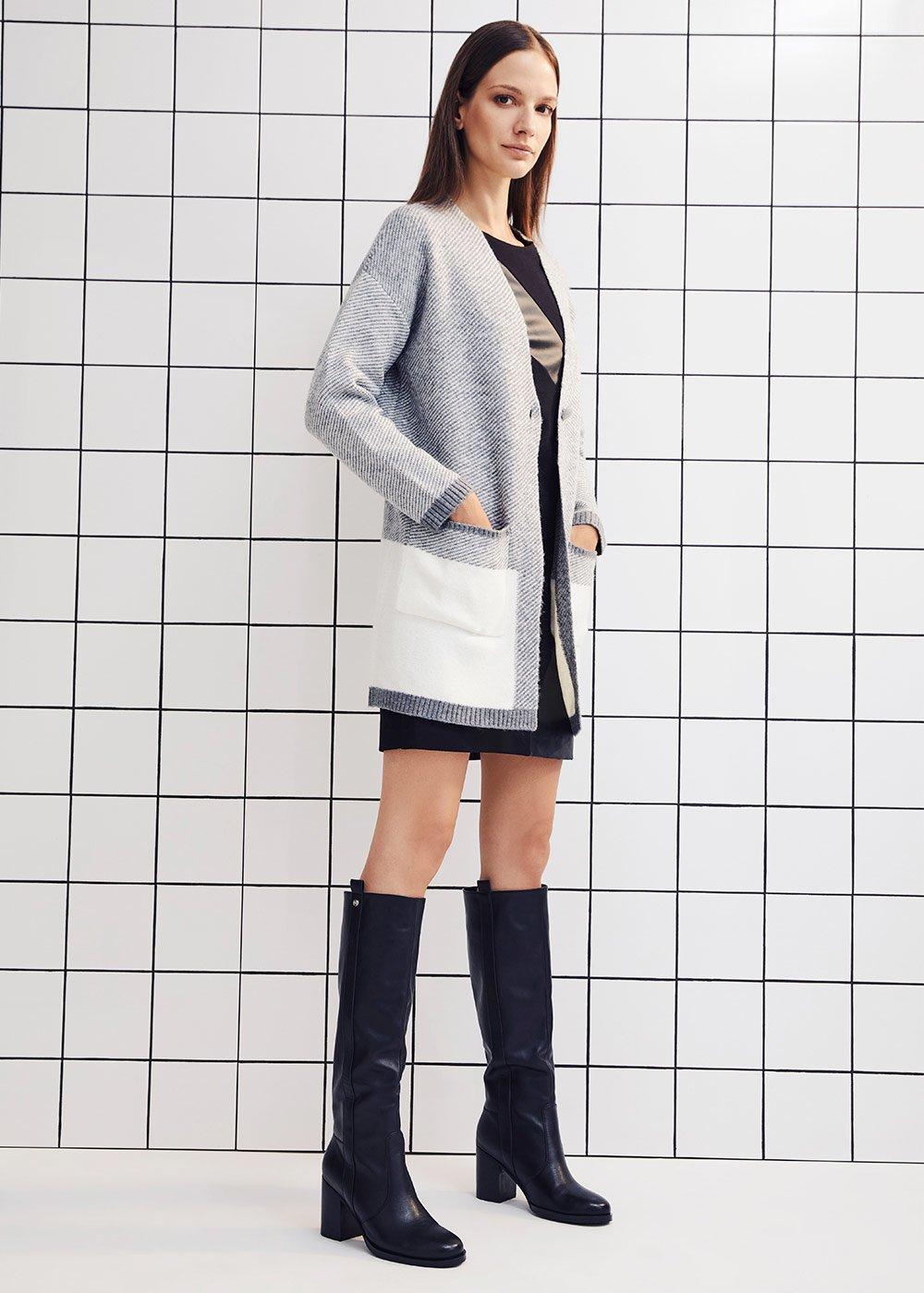 Cardigan Cooper lungo in maglia over con tasche a toppa - Medium Grey / White - Donna