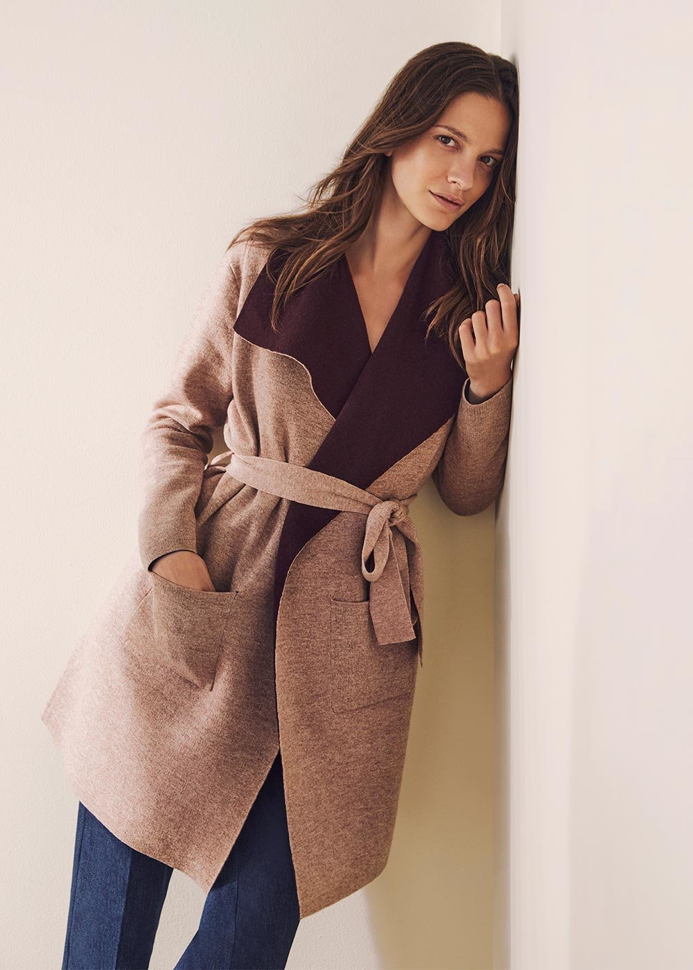 Cardigan with shawl collar and belt - Doeskin - Woman