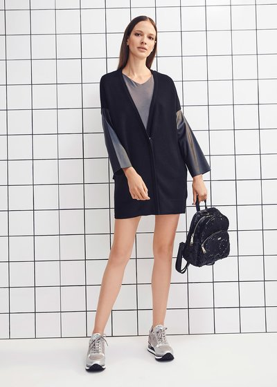 V-neck cardigan with contrasting faux-leather sleeves