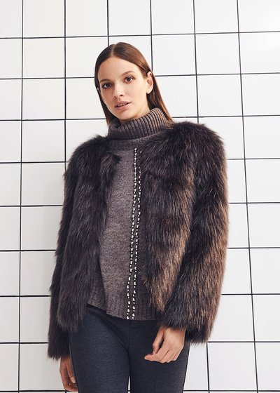 Garys crew-neck faux fur coat