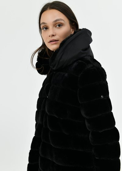 Faux-fur jacket with striped effect