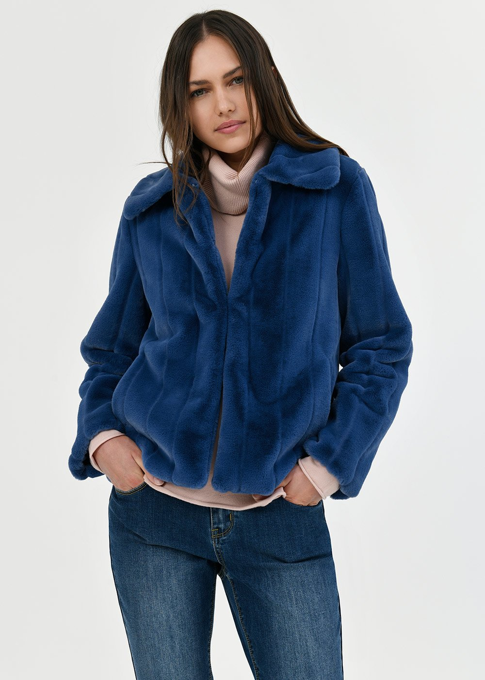 Grys faux fur coat with collar - Blue - Woman