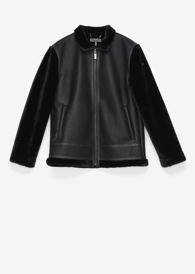 Faux-leather jacket with faux-fur sleeves