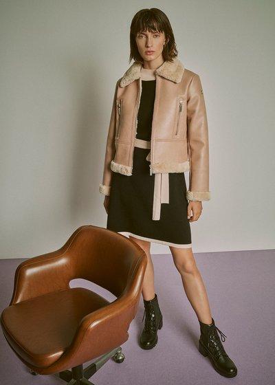 Faux-leather jacket with faux-fur details