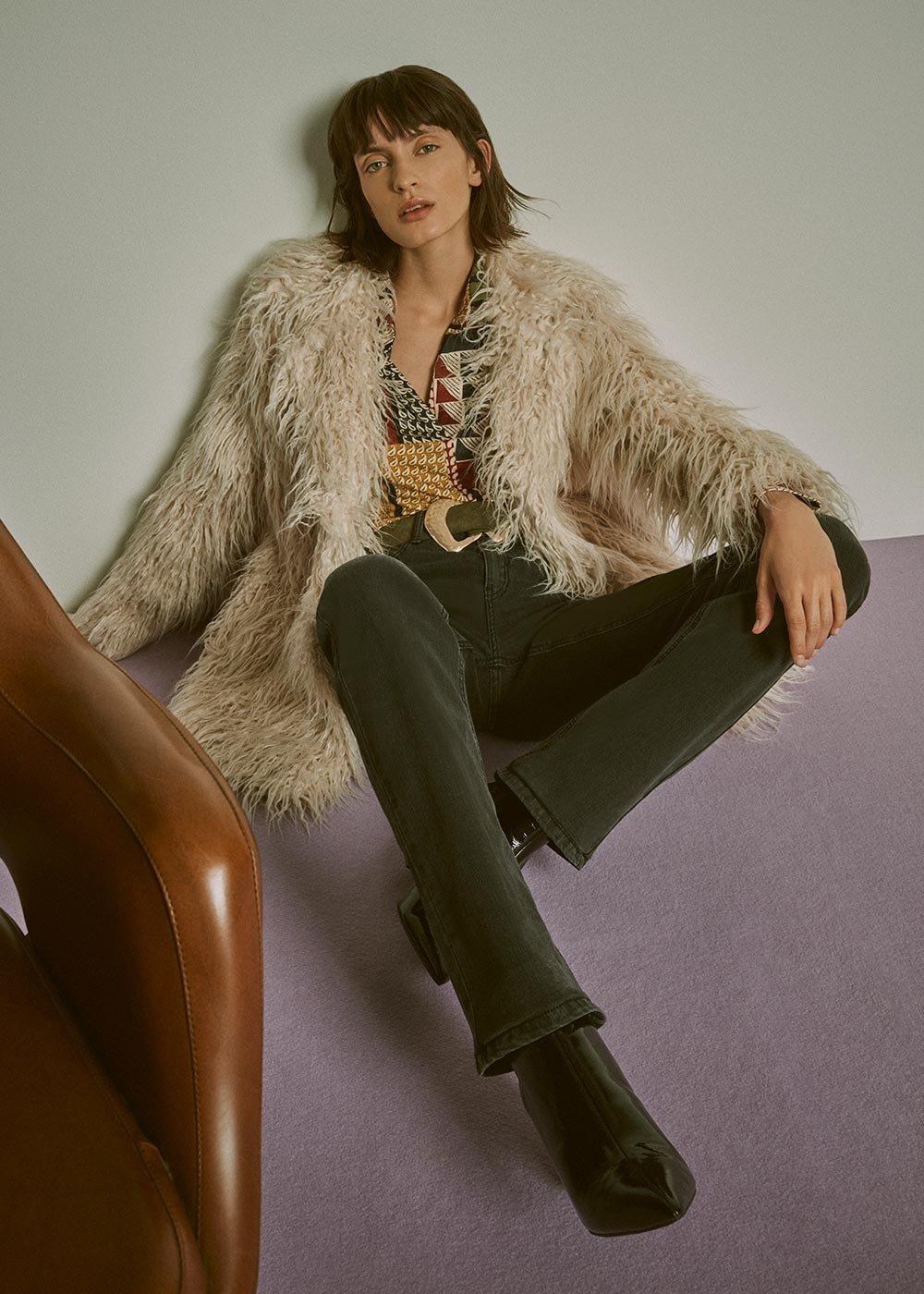 Mongolian style faux fur coat - White - Woman