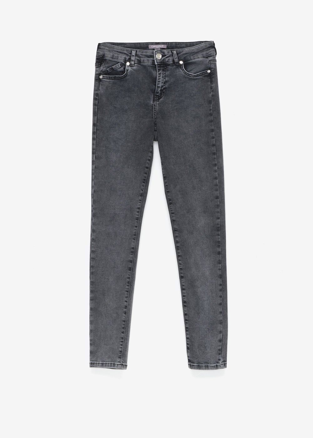 Skinny denims with silver details - Dark Grey - Woman