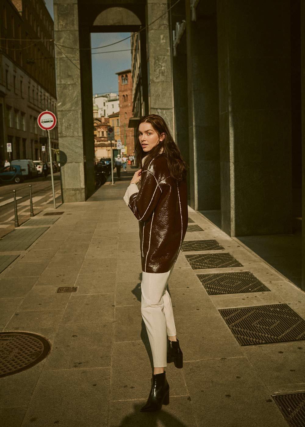 Gyllis patent -leather jacket - Marrone\ White - Woman