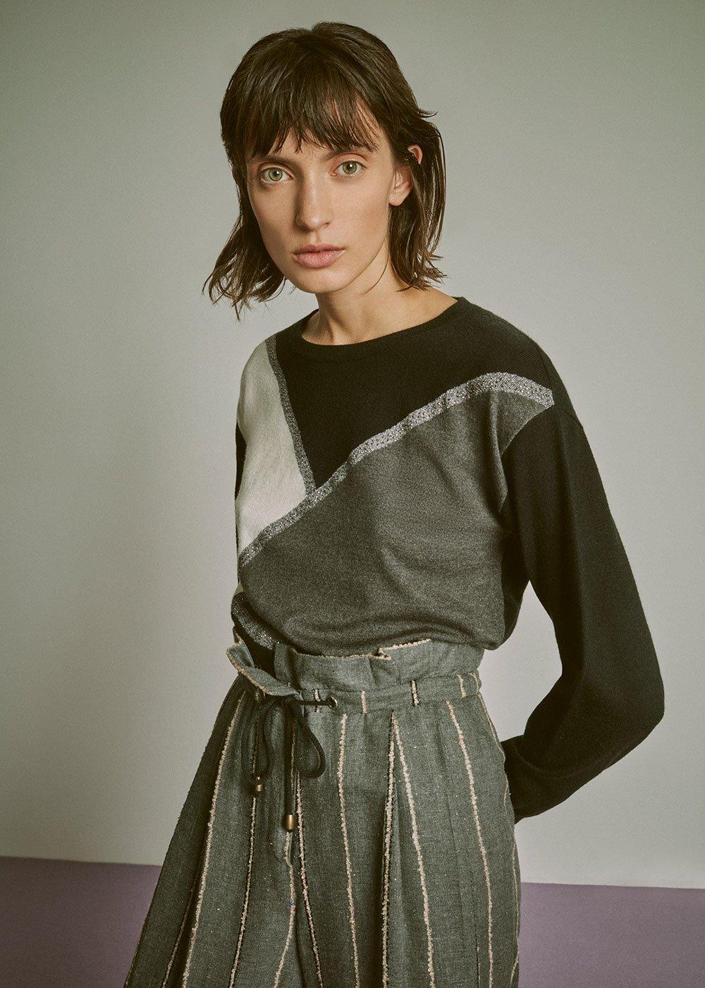 Madlen tricolour sweater - Black / Grey / Fantasia - Woman