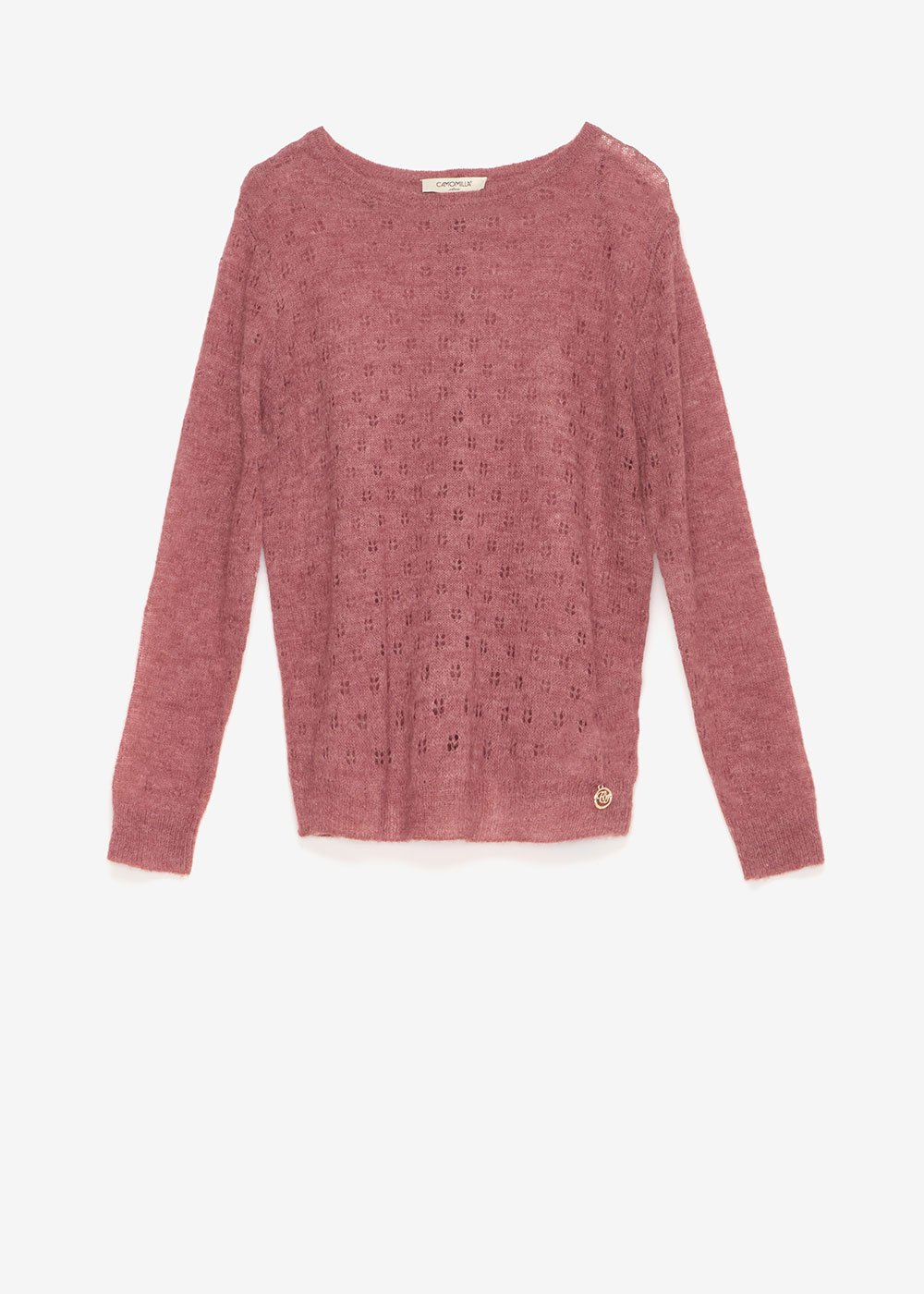 Crew-neck sweater with floral openwork - Grey M.\Cacao Stripes - Woman