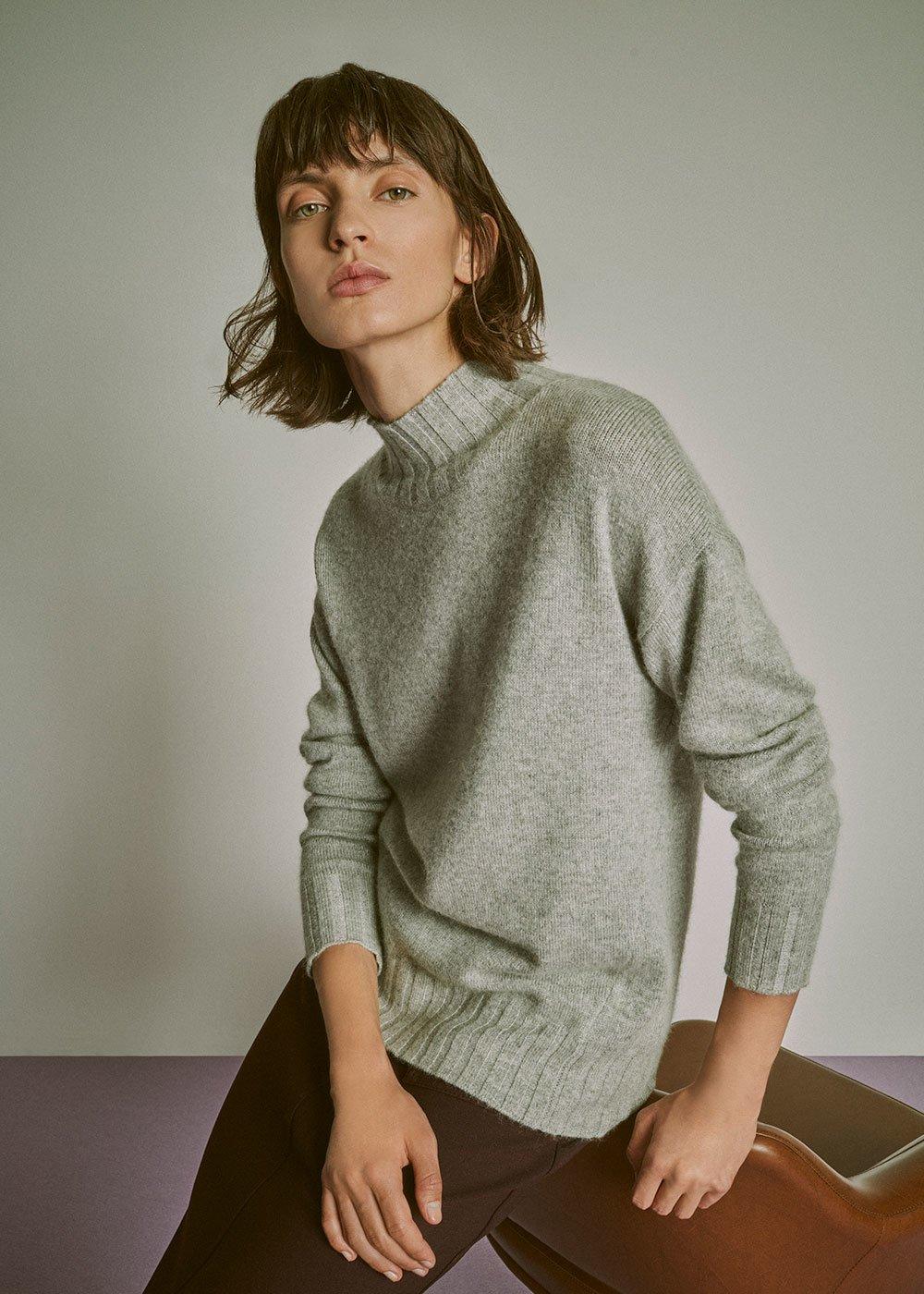 Turtleneck sweater - Light Grey - Woman
