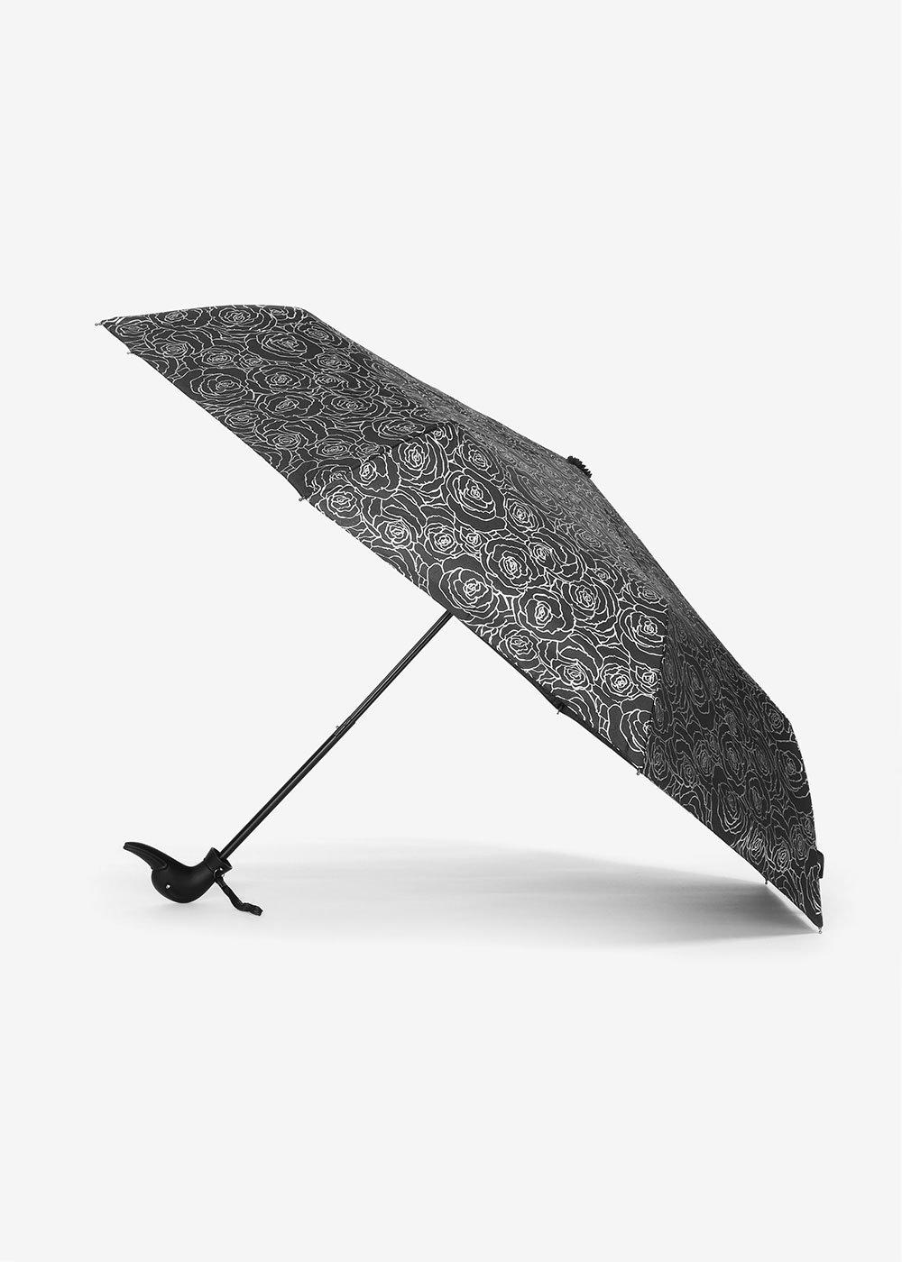 Rose silver print umbrella - Black / Silver - Woman