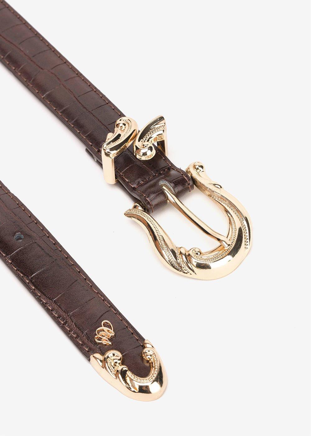 Cintura Casy con fibbia barocca - Marrone - Donna