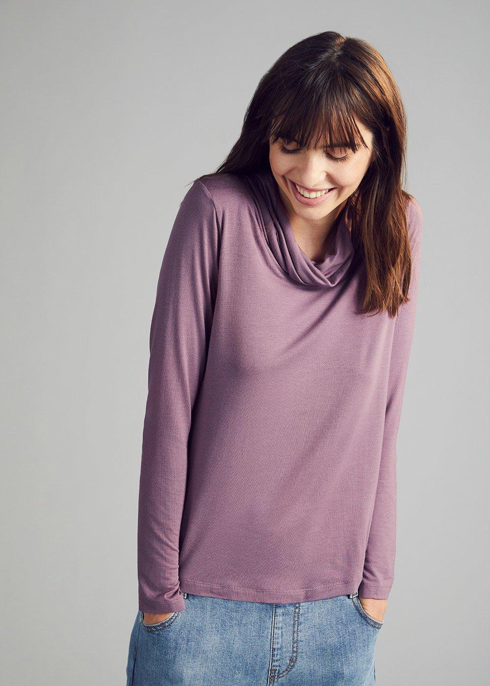 Cowl neck T-shirt - Grey M.\Cacao Stripes - Woman