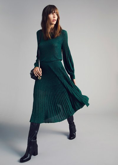 Crew-neck lurex sweater with puff sleeves