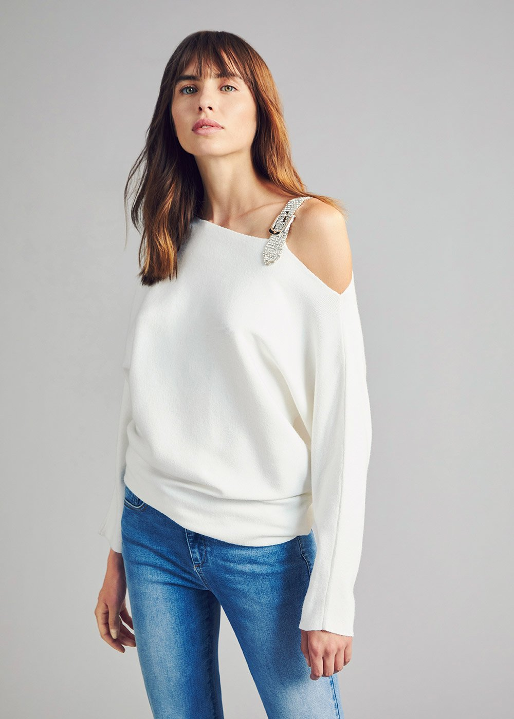 Asymmetric sweater with rhinestone buckle on the shoulder - White - Woman