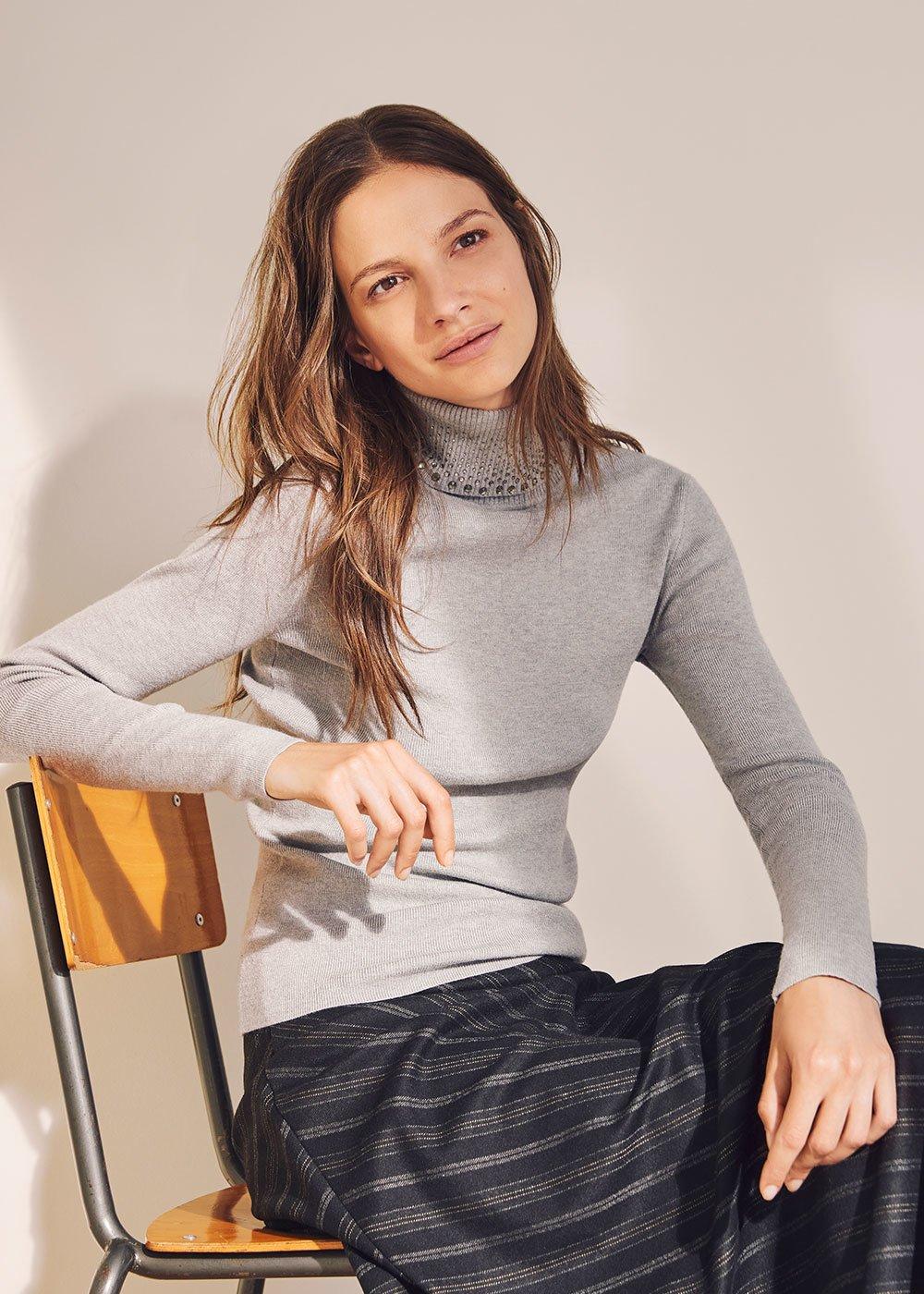 Maglia Milena con borchiette - Grey - Donna