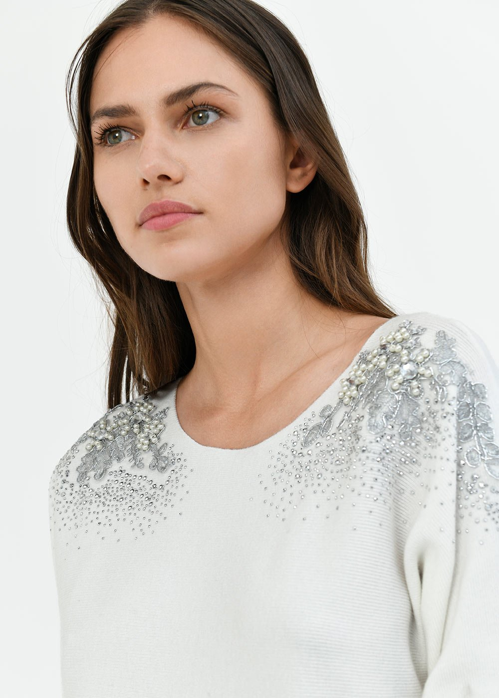 Melina sweater with appliques on the shoulders - White - Woman