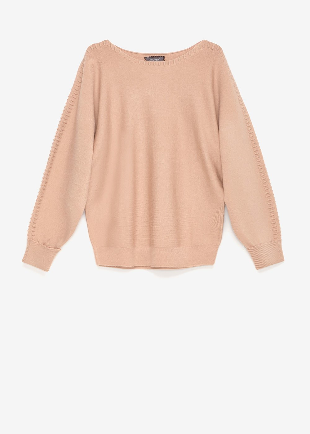 Margaret sweater with threading on the sleeves - Beige - Woman
