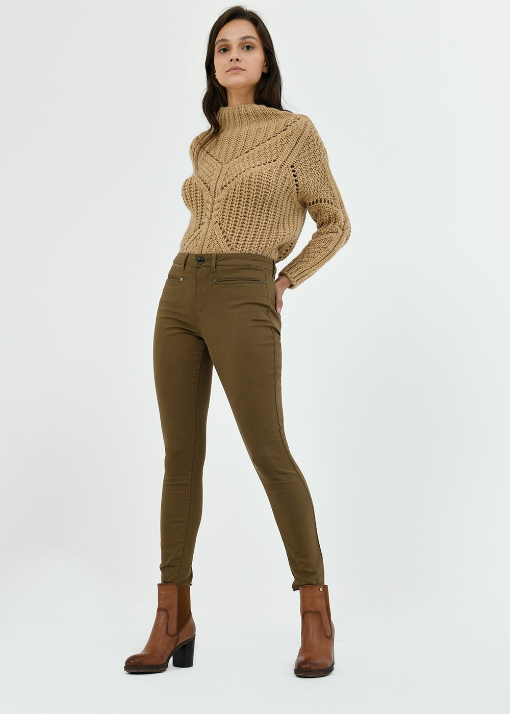 Pantalone Paul con tasca a filetto - Bronzo - Donna