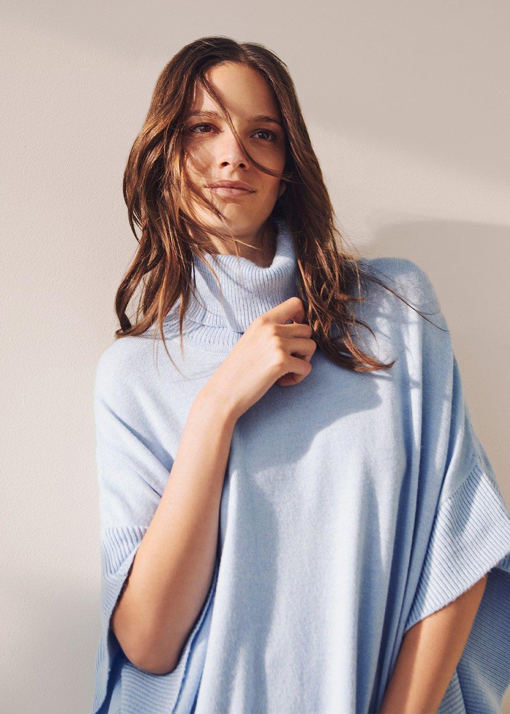 Margot cape model sweater - Fog - Woman