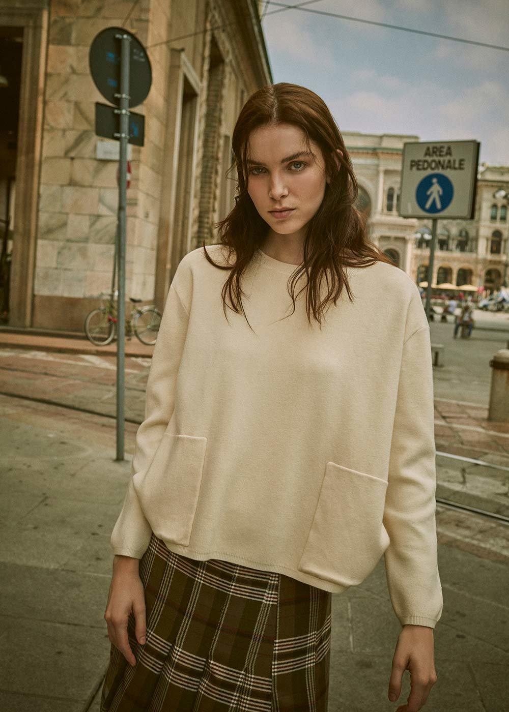 Maglia Malena modello ovetto - Crema - Donna