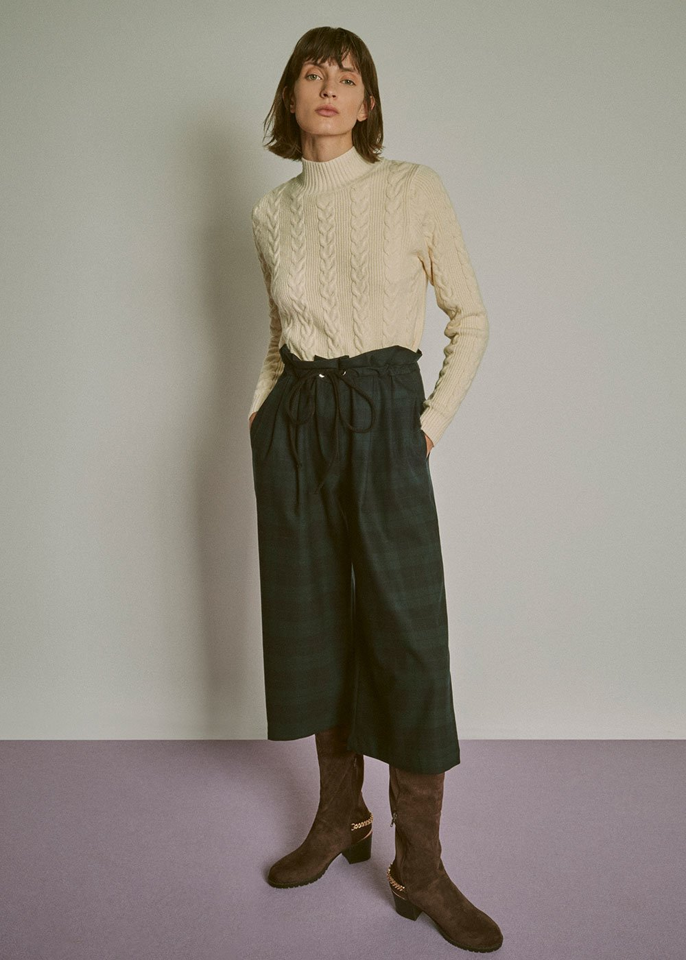 Mabel sweater with braided processing - Cream - Woman