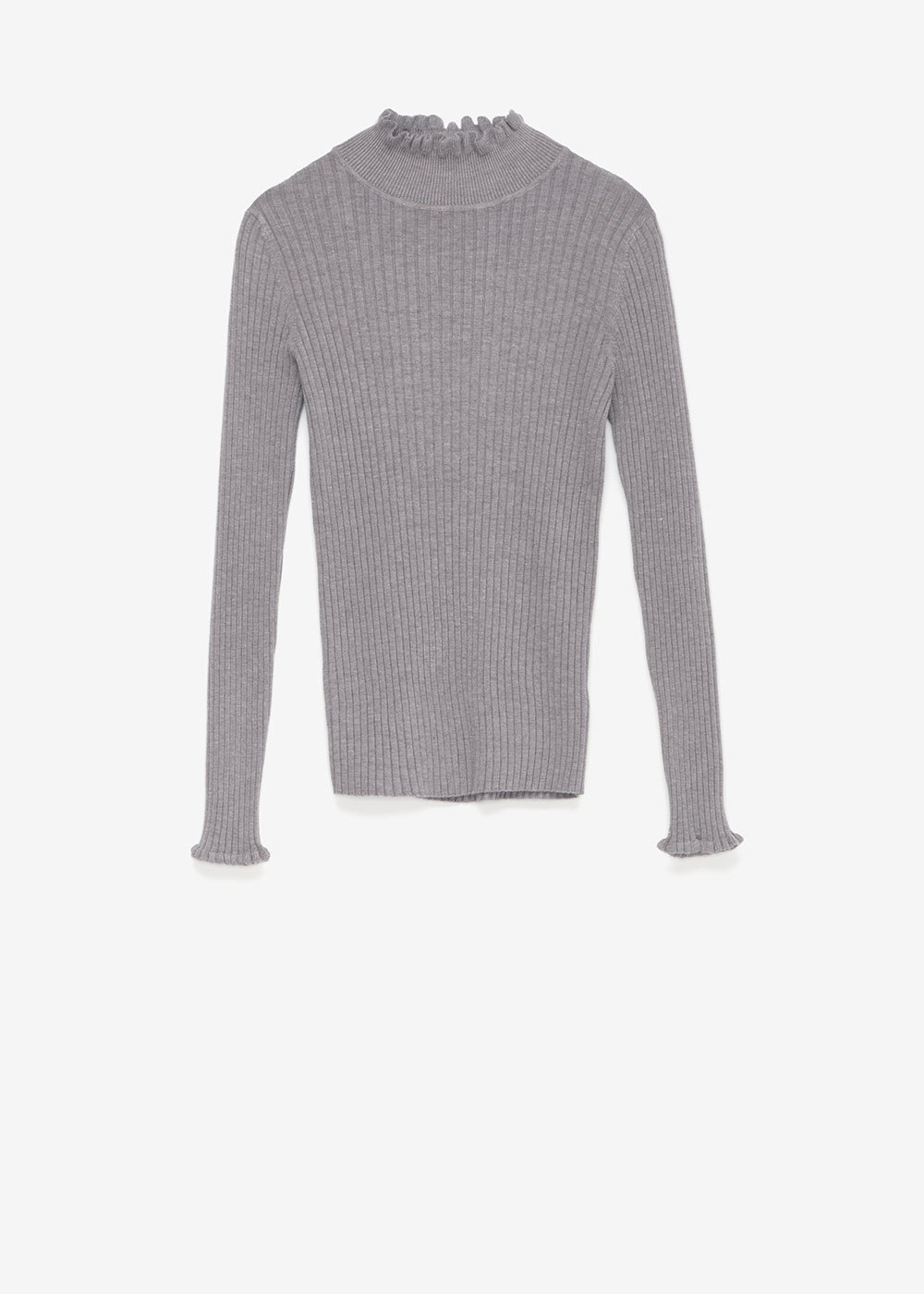 Maris sweater with ruffled neck - Medium Grey - Woman