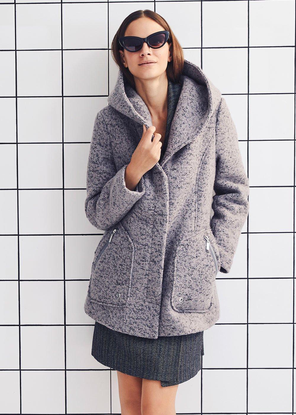 Piumino Parker effetto cappotto - Grey Melange - Donna