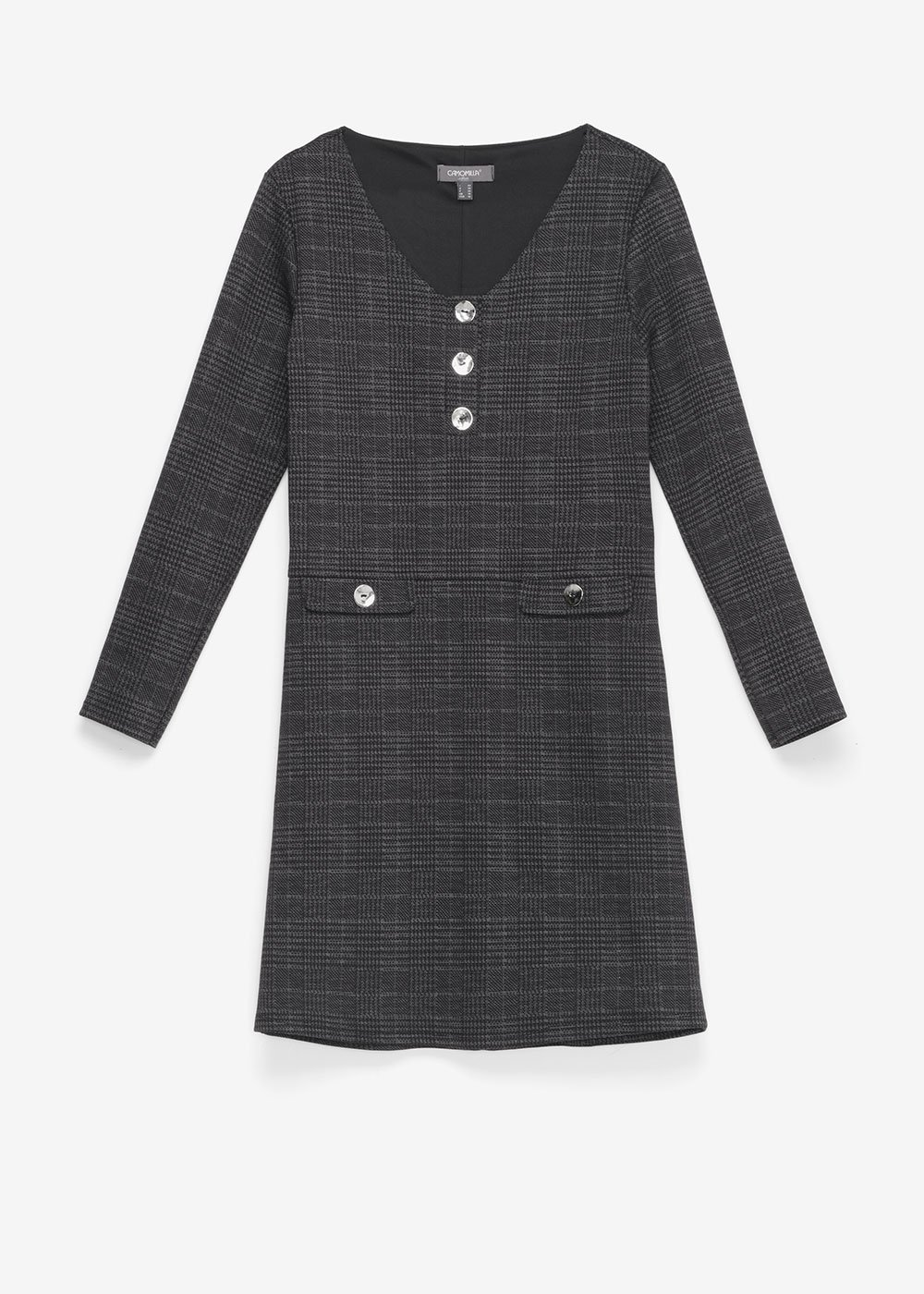 Astrid dress with check pattern - Black  / Grey Multi - Woman