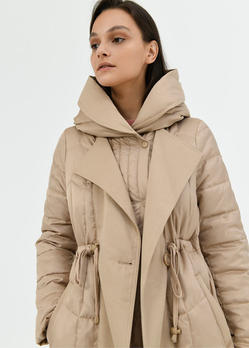 Paige trench coat-model bi-material down jacket - Light Beige - Woman