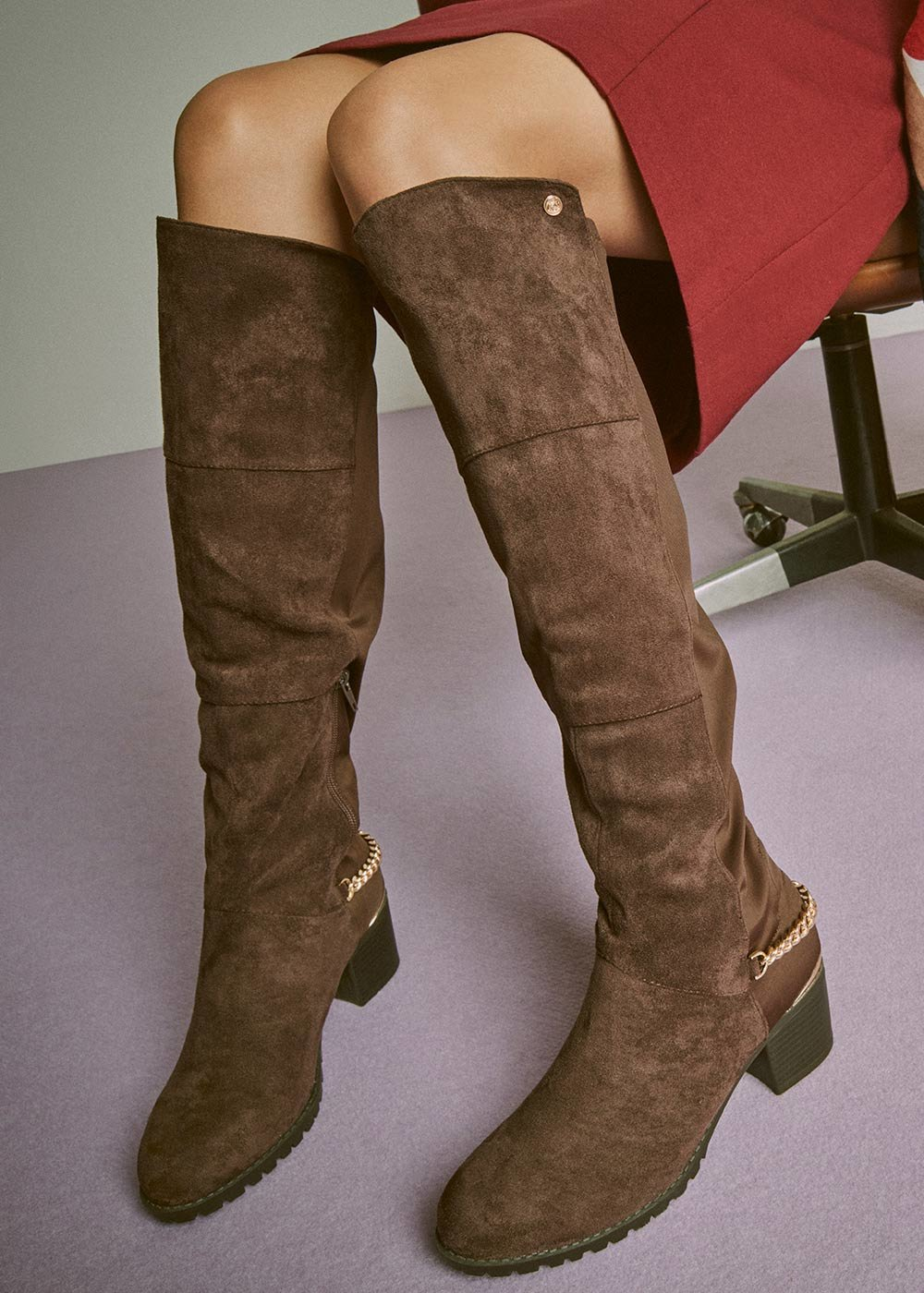 Shelly boot with chain detail - Wood - Woman