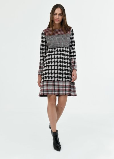 Alvin dress with mixed pattern
