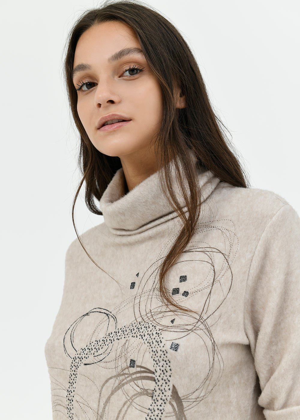 Moyra sweater with concentric circles - Doeskin - Woman