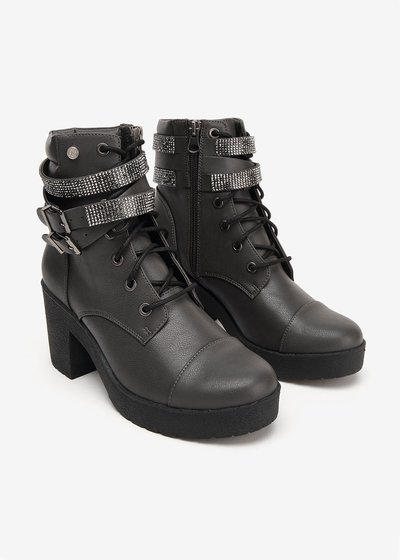 Shai combat boots with strap detail