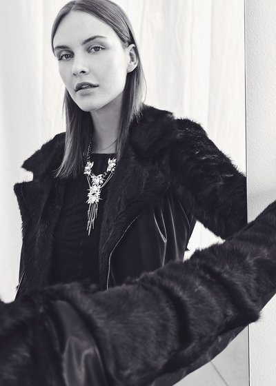 Grys faux-leather jacket with faux-fur sleeves
