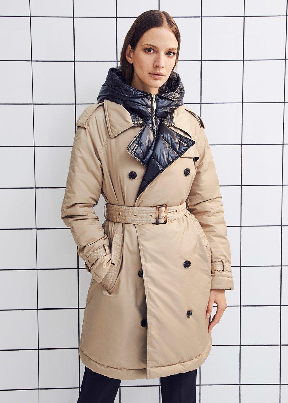 Paryl trench coat-model down jacket - Safari - Woman