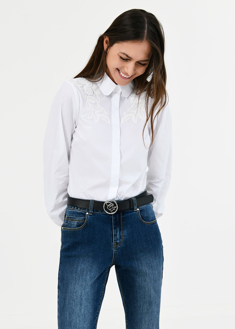 Carla shirt with lace detail - White - Woman