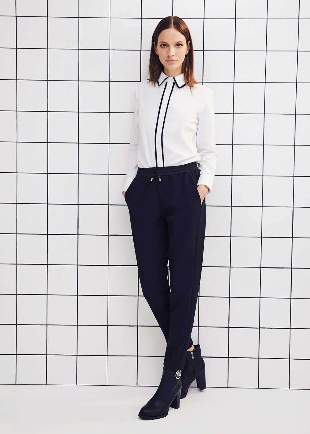 Carlotta shirt with contrasting piping - White - Woman