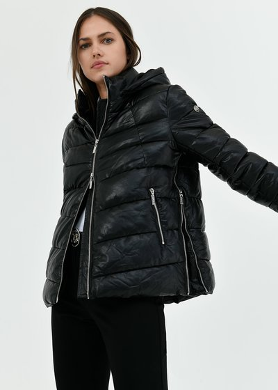 Peter faux-leather down jacket