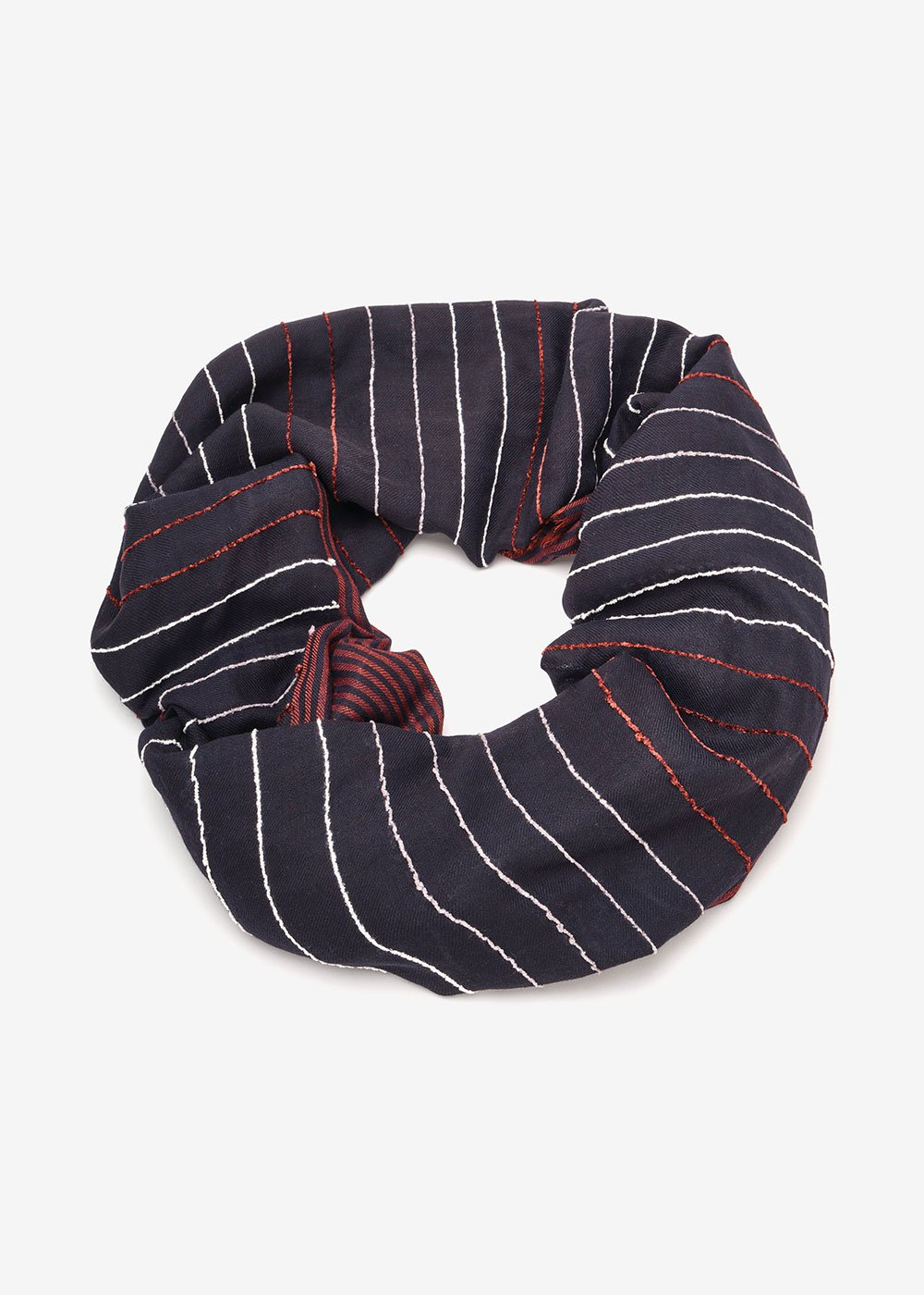 Sabina wool scarf - Dark Blue /  Porpora Stripes - Woman