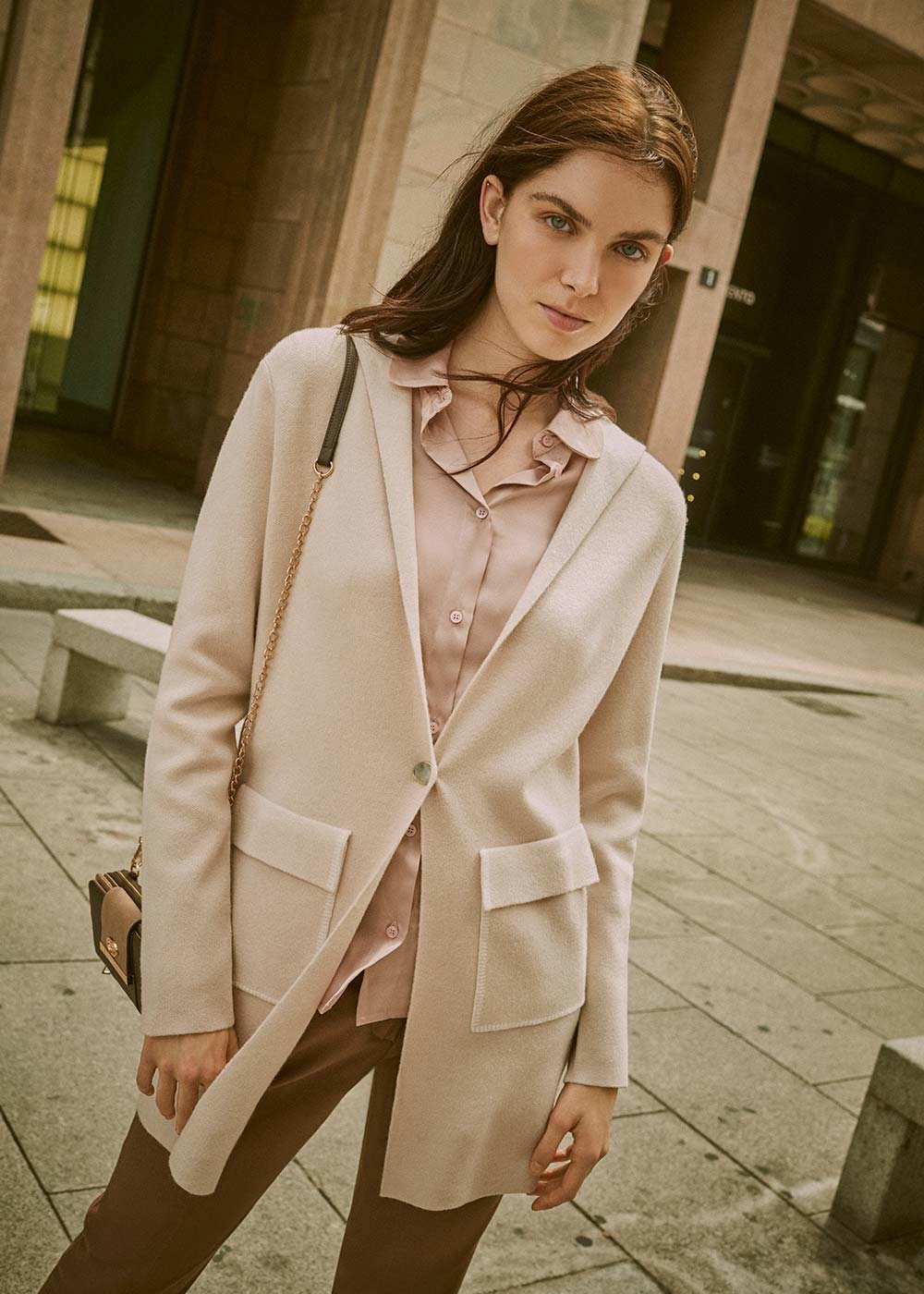 Calid cardigan with hood - Light Beige - Woman