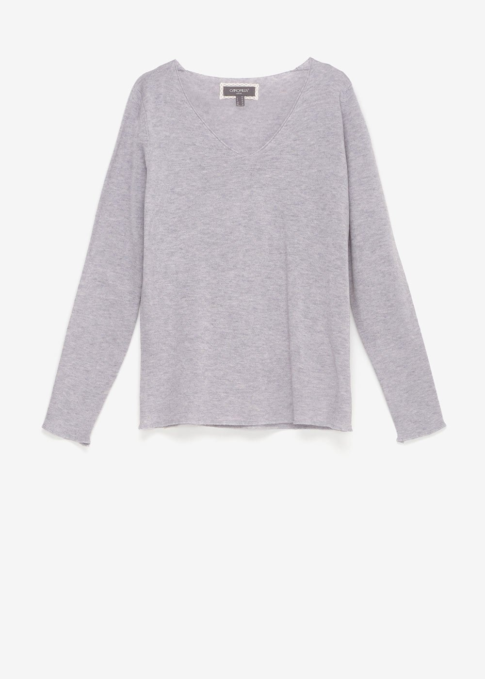 Maela V-neck sweater - Grey Melange - Woman