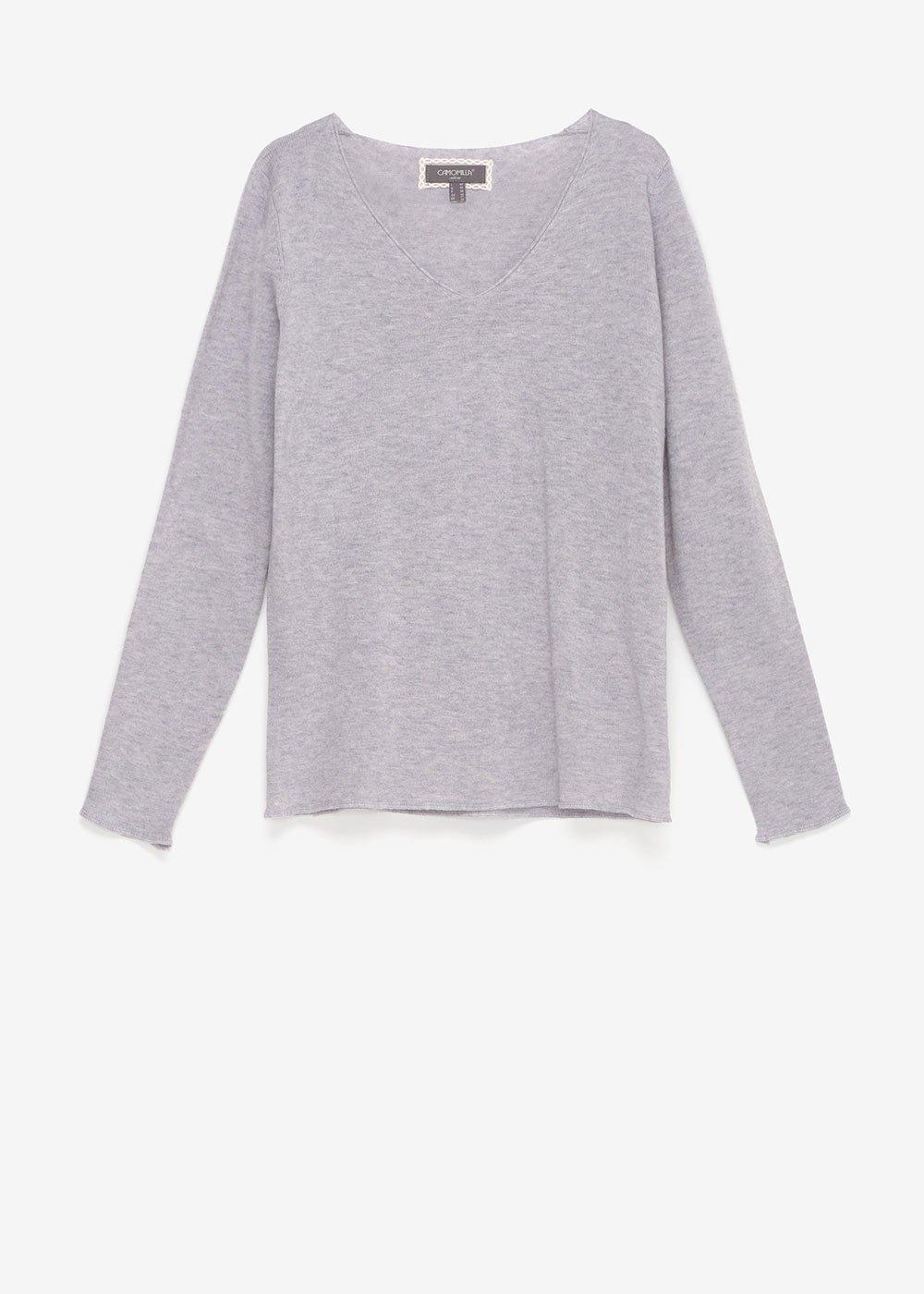 Maela V-neck sweater - Grey Melange - Woman